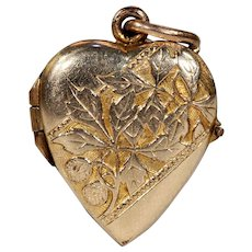 Edwardian Engraved Gold Heart Locket