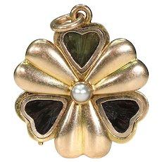 Fabulous Antique English Slide Locket Pendant Clover Pearl