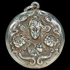 Art Nouveau Lady of the Lake Locket Sterling Silver