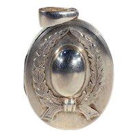 Antique Victorian Silver Locket with Wreath Motif, c. 1890