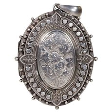 Ornate Floral Engraved Front and Back Sterling Silver Locket Pendant Birmingham 1882