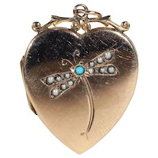 Heart-Shaped Turquoise Gold Pearl Locket Set in Dragonfly