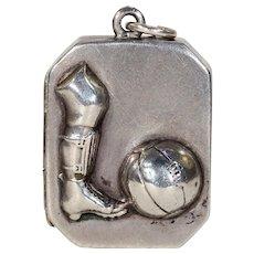 Antique Silver Football (Soccer) Locket Pendant