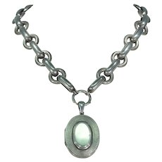 Victorian English Silver Collar and Locket Set Necklace