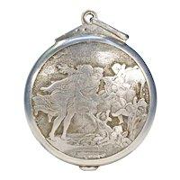 Antique French Fragonard 'The Fountain of Love' Silver Slide Locket