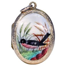 Victorian Gold Enamel Bird Locket Pendant
