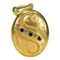 French Etruscan Revival Sapphire Diamond Locket 18k Gold