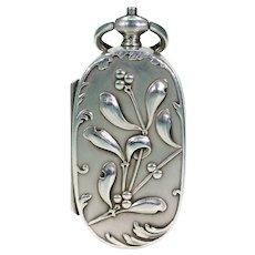 French Silver Sovereign Case Pendant with Mistletoe Motif Art Nouveau