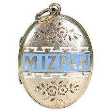 Antique Victorian Enamel Mizpah Locket 9k Gold