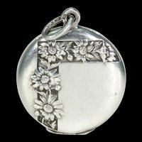 Antique Round Silver Daisies Locket