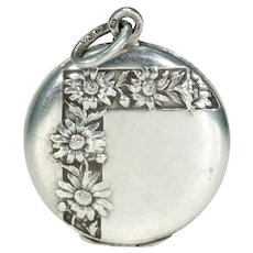 Antique Round Silver Daisies Locket