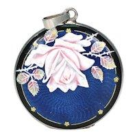 Antique Enamel Silver Rose Locket Pendant Jugenstil Art Nouveau
