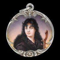 Antique Art Nouveau Silver Enamel Locket Woman Motif