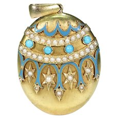 Victorian 18k Gold Pearl Turquoise Enamel Locket