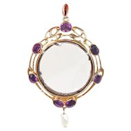 Art Nouveau Amethyst Pearl Frame Locket Gold