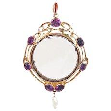Art Nouveau Amethyst Pearl Frame Locket Gold