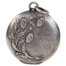 Antique French Silver Daisy Locket