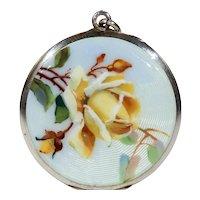Antique Victorian Enamel Yellow Rose Locket Silver
