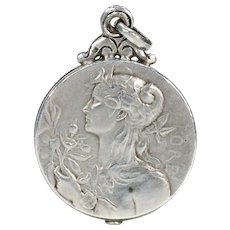 Antique French Silver Slide Locket Pendant Goddesses