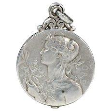 Antique French Silver Slide Locket Pendant Goddesses
