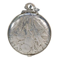 Antique French Slide Locket Pendant Engraved Thistles