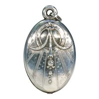 Antique French Silver Slide Locket Pendant with Floral Motif