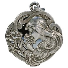 Art Nouveau French Silver Slide Locket Pendant Dropsy