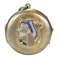 Egyptian Revival Silver Enamel Round Locket