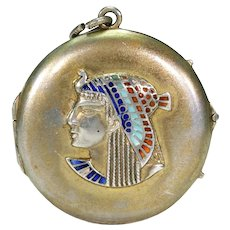 Egyptian Revival Silver Enamel Round Locket