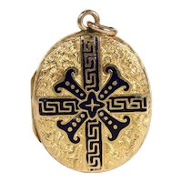 Victorian Enameled 15k Gold Locket, Dated 1867