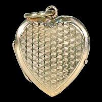 Art Deco Engraved Gold Heart Locket Pendant