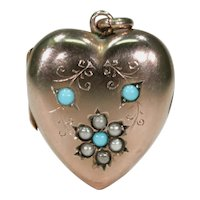 Victorian Turquoise Pearl Heart Locket English 9k Gold