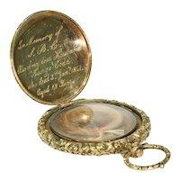 Early Victorian Gold Memorial Locket Pendant Hair Inscription