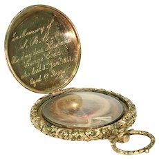 Early Victorian Gold Memorial Locket Pendant Hair Inscription