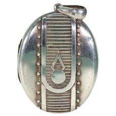 Victorian Embossed Silver Locket Button Design