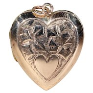 Antique Engraved Rose Gold Heart Shaped Locket English Victorian