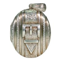 Victorian Engraved Silver Buckle Locket