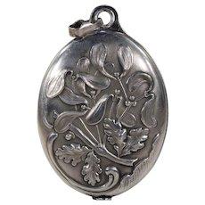 Antique French Silver Slide Locket Pendant Oak Mirror Mistletoe