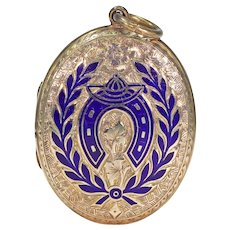 Antique Victorian Enamel Equestrian Locket 9k Gold B&F