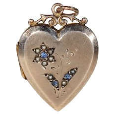 Antique Heart Locket Sapphire Pearl Flower Gold Pendant