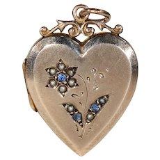 Antique Heart Locket Sapphire Pearl Flower Gold Pendant