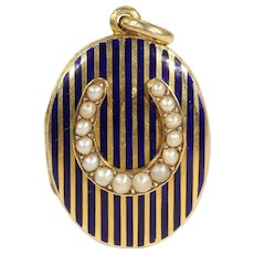 Antique Victorian Mourning Locket, in 15k Gold with Dark Blue Enamel and Pearl Horseshoe