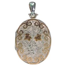Large Sterling Silver Victorian Locket Pendant Gold Accents