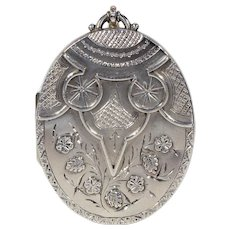 Antique Victorian Birmingham Stylized Owl Silver Locket