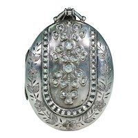 Antique Victorian Silver Oval Locket Pendant