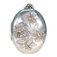 Victorian Oval Sterling Silver Flowers Locket