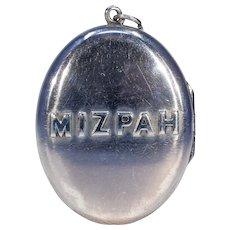 Victorian Silver Oval Mizpah Locket Pendant