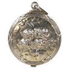 Large Edwardian Silver Slide Locket Pendant Cherubs Hallmarked 1907