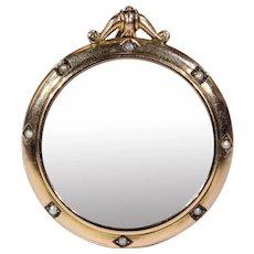 Antique Victorian Crystal Locket Pearl Gold