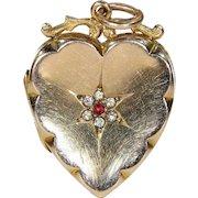Antique Victorian Gold Heart Locket Pendant